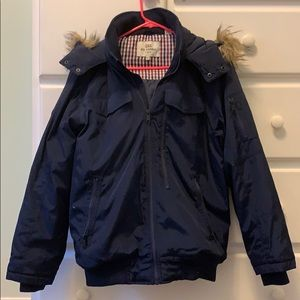 Navy blue Ben Sherman winter coat with fur hood